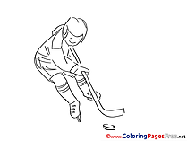 Man Ice Hockey for Children free Coloring Pages