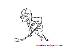 Old Man Ice Hockey Coloring Pages for free