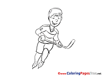 Player Ice Hockey free printable Coloring Sheets