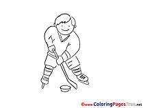 Player Ice Hockey printable Coloring Pages for free