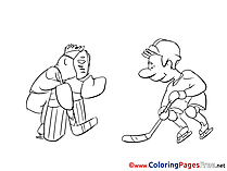 Players Ice Hockey Children Coloring Pages free