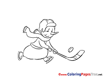 Snowman Ice Hockey Coloring Sheets download free
