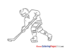 Sportsman Ice Hockey download Colouring Sheet free