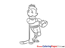 Stick Hockey free Colouring Page download