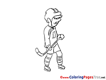 Stick Ice Hockey Children Coloring Pages free