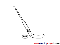 Stick Ice Hockey for Kids printable Colouring Page