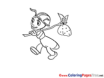 Ant with Bag free printable Coloring Sheets