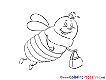 Bee for Kids printable Colouring Page