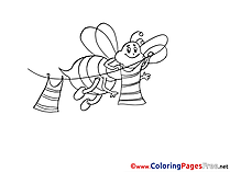 Bee with Clothes Children free Coloring Pages