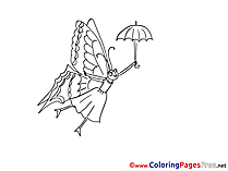 Butterfly Umbrella Coloring Pages for free