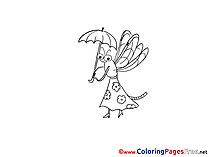 Dragonfly with Umbrella Coloring Sheets download free
