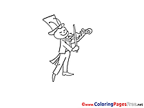 Grasshopper with Violin download printable Coloring Pages