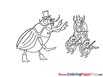 Musicians Beetles Coloring Sheets download free