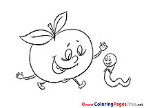Worm Apple download printable Coloring Pages