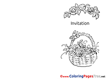Basket with Flowers Invitation free Coloring Pages