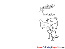 Bird singing Colouring Page Invitation free