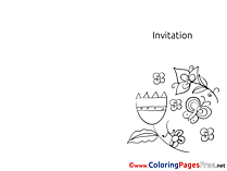 Butterfly Flowers printable Invitation Coloring Sheets