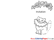 Cat Invitation Colouring Sheet free Roses