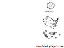 Chicken Coloring Sheets Invitation Nest free