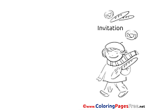 Child with Bread Invitation Coloring Pages free