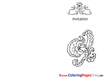 Flowers Hare Invitation Coloring Pages free