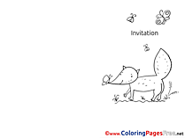 Fox printable Invitation Coloring Sheets