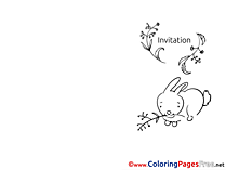 Hare eats Grass free Colouring Page Invitation