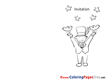 Magician free Invitation Coloring Sheets