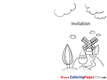 Mill download Invitation Coloring Pages