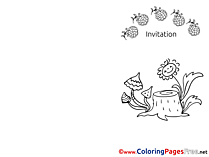 Mushrooms Kids Invitation Coloring Page