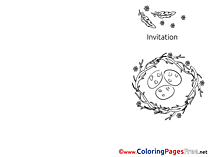 Nest Kids Invitation Coloring Pages Eggs