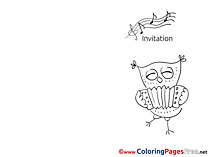 Owl plays Accordion Invitation Coloring Pages download