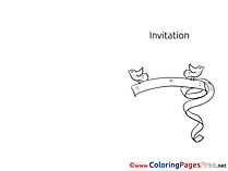 Ribbon Kids Invitation Coloring Pages Birds