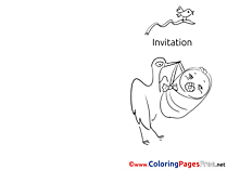 Stork for Kids Invitation Colouring Page