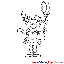 Balloon Girl download Colouring Sheet free