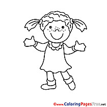 Dress Girl Colouring Page printable free