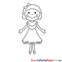 Dress Girl for Kids printable Colouring Page