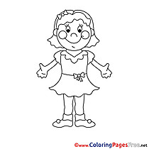 Dress Girl printable Coloring Pages for free