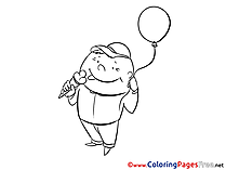 Balloon Boy eats Ice-cream Colouring Sheet download free
