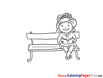 Bench Girl Kids download Coloring Pages