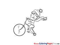 Bicycle Colouring Page printable free Boy