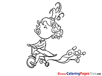 Bicycle Kid for free Coloring Pages download