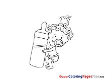 Bottle of Milk Kids free Coloring Page