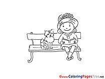 Cat with Girl for Children free Coloring Pages