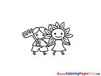 Children in Garden Coloring Pages free