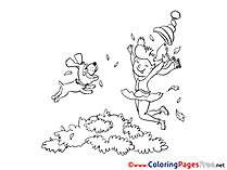 Dog jumps with Girl Coloring Pages for free