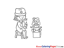 Doll Doctor Kids download Coloring Pages