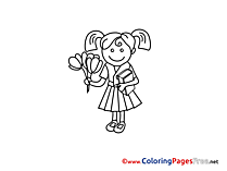 Flowers Coloring Sheets download free Girl
