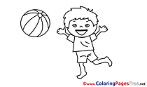 Free Boy plays Ball Colouring Page download