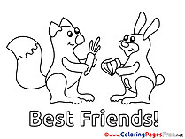 Friendship Animals Colouring Sheet download free